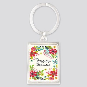 Painted Floral Personalized Mono Portrait Keychain