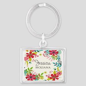 Painted Floral Personalized Mon Landscape Keychain