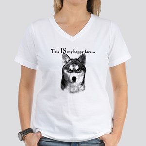 Husky Happy Face Women's V-Neck T-Shirt