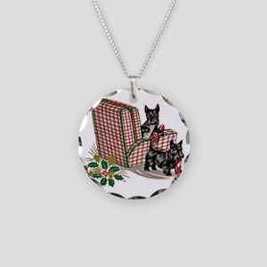 Scottish Terrier Christmas Necklace Circle Charm