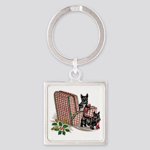 Scottish Terrier Christmas Square Keychain