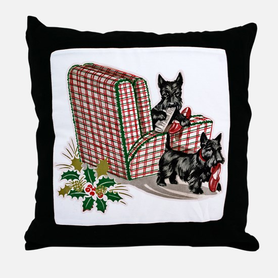 Scottish Terrier Christmas Throw Pillow