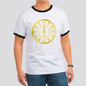 """""""Gold"""" Circle of Fifths Ringer T"""