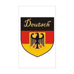 Deutsch Flag Crest Shield Rectangle Decal