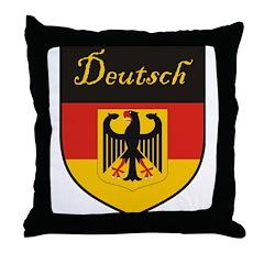 Deutsch Flag Crest Shield Throw Pillow