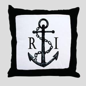 Rhode Island Anchor Throw Pillow
