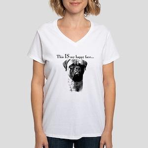 Bullmastiff Happy Face Women's V-Neck T-Shirt