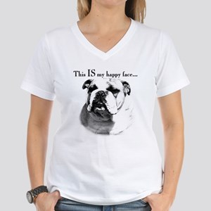 Bulldog Happy Face Women's V-Neck T-Shirt