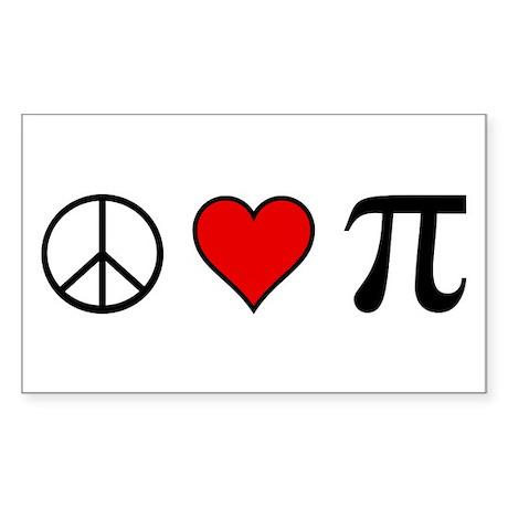 Peace, Love, and Pi Sticker, Rectangular