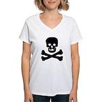 Skull and Crossed Bones Women's V-Neck T-Shirt