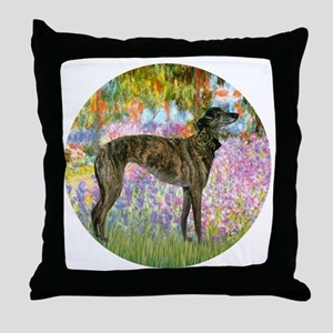 R-Garden-Greyhound-brindle Throw Pillow