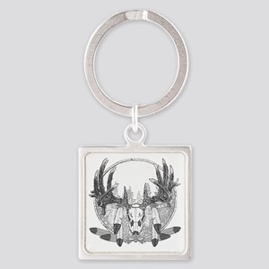 Whitetail and feathers Square Keychain