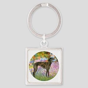 R-Garden-Greyhound-brindle Square Keychain