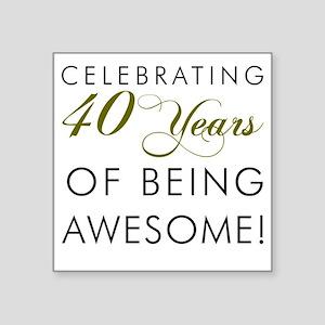 "Celebrating 40 Years Drinki Square Sticker 3"" x 3"""