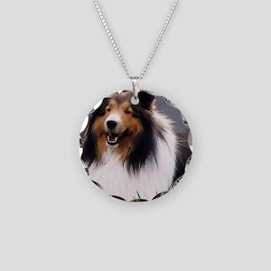 sheltie art canvas Necklace Circle Charm
