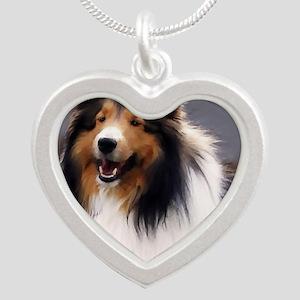 sheltie art canvas Silver Heart Necklace