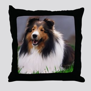 sheltie art canvas Throw Pillow