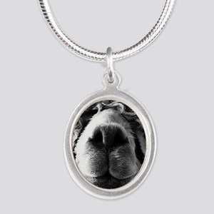 11x11 say cheese Silver Oval Necklace