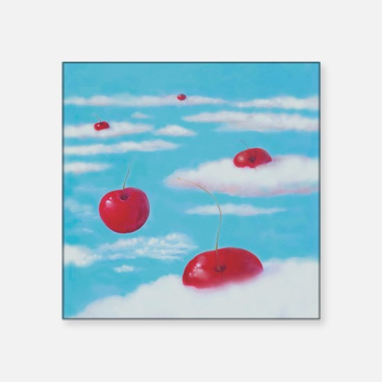 """fFalling Cherries thru Clou Square Sticker 3"""" x 3"""""""