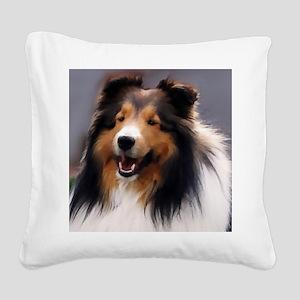 sheltie art canvas square Square Canvas Pillow