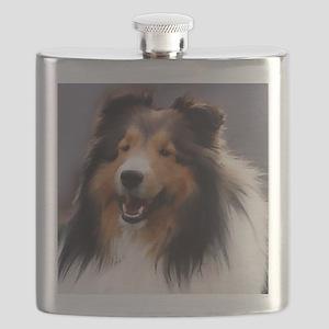 sheltie art canvas square Flask