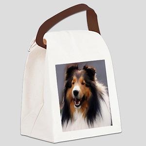 sheltie art canvas square Canvas Lunch Bag