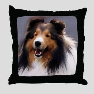 sheltie art canvas square Throw Pillow