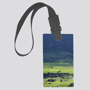 View over Farmland and Upper Tak Large Luggage Tag