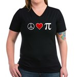 Peace, Love, and Pi Women's V-Neck Dark T-Shirt