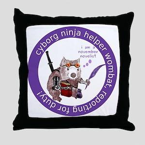 cyborg_ninja_wombat_logo3 Throw Pillow