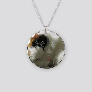Sleeping Kitty Necklace Circle Charm
