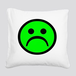 Sad FACE green Square Canvas Pillow