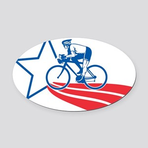 Cyclist riding racing bike America Oval Car Magnet