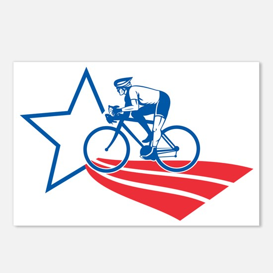 Cyclist riding racing bik Postcards (Package of 8)