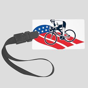 Cyclist riding racing bike Ameri Large Luggage Tag