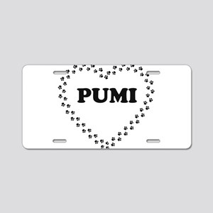 pumi name heart Aluminum License Plate