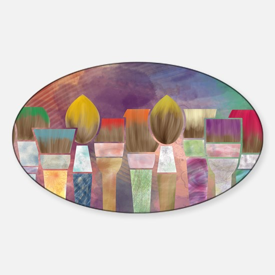 Paintbrushes_laptopskin Sticker (Oval)