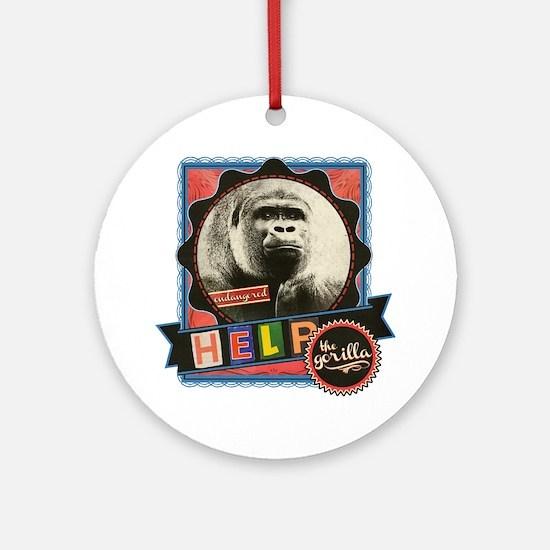 Endangered-Gorilla-2 Round Ornament