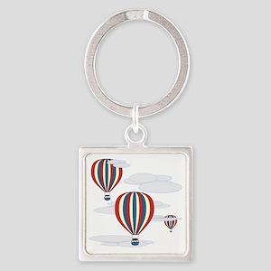 Hot Air Balloon Sq Lt Square Keychain