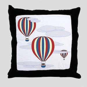 Hot Air Balloon Sq Lt Throw Pillow