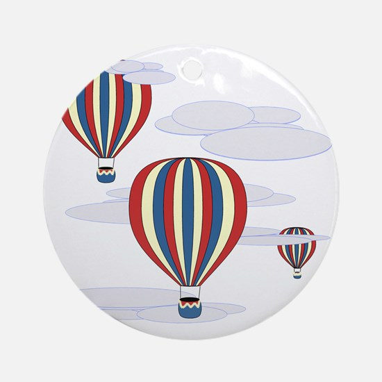 Hot Air Balloon Sq Lt Round Ornament