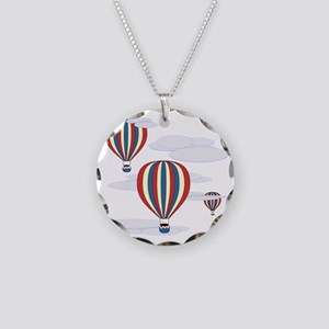 Hot Air Balloon Sq Lt Necklace Circle Charm