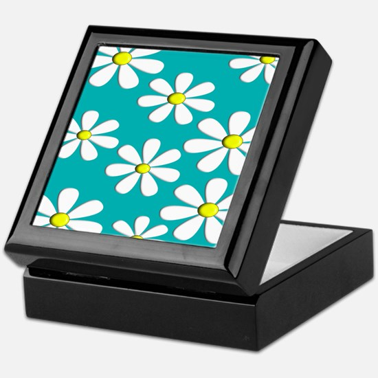 daisies aqua 2 Keepsake Box