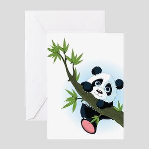 Panda on Tree Greeting Cards