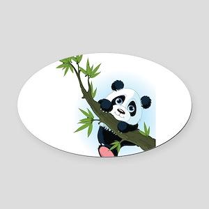 Panda on Tree Oval Car Magnet