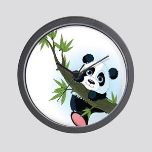 Panda on Tree Wall Clock