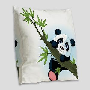 Panda on Tree Burlap Throw Pillow