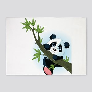 Panda on Tree 5'x7'Area Rug