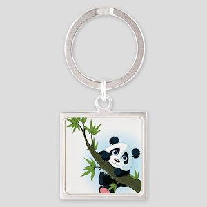 Panda on Tree Keychains