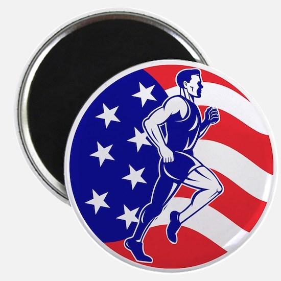 American Marathon runner stars stripes Magnet